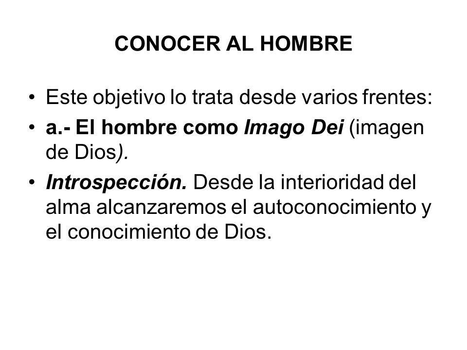 CONOCER AL HOMBRE Este objetivo lo trata desde varios frentes: a.- El hombre como Imago Dei (imagen de Dios).
