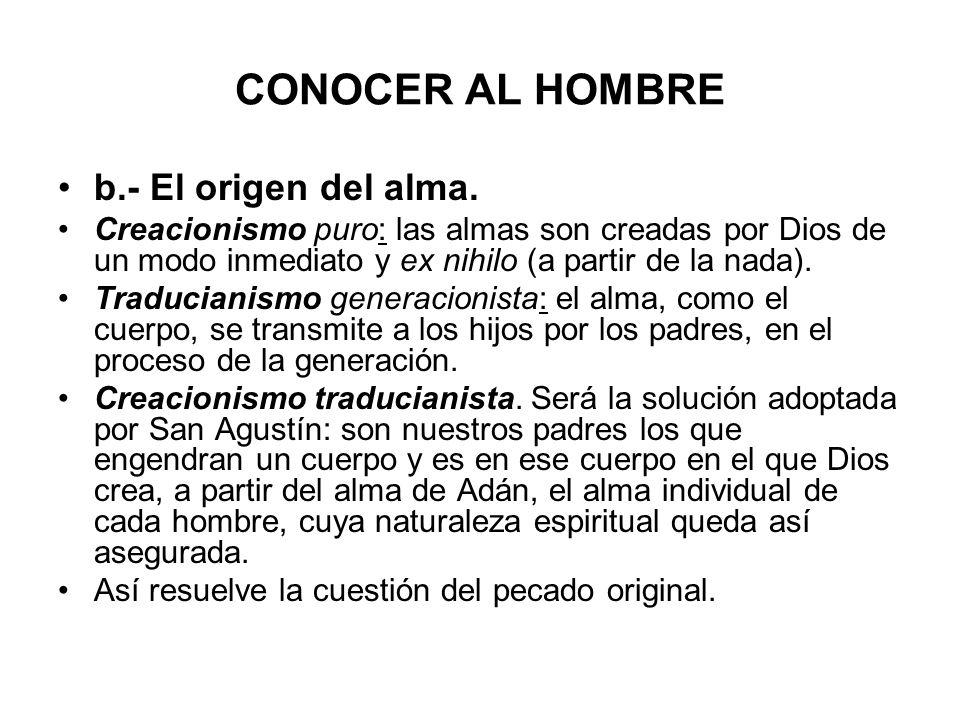 CONOCER AL HOMBRE b.- El origen del alma.