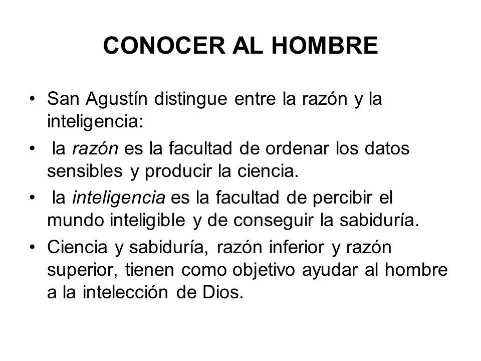 CONOCER AL HOMBRE San Agustín distingue entre la razón y la inteligencia: