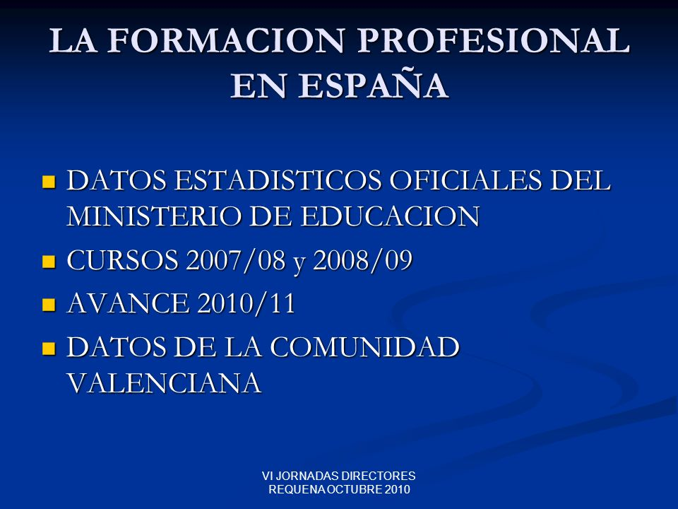 LA FORMACION PROFESIONAL EN ESPAÑA
