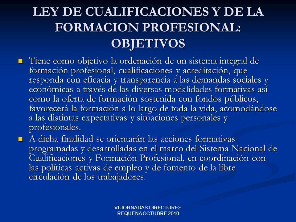 LEY DE CUALIFICACIONES Y DE LA FORMACION PROFESIONAL: OBJETIVOS