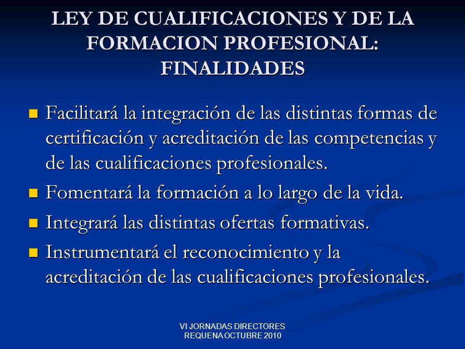 LEY DE CUALIFICACIONES Y DE LA FORMACION PROFESIONAL: FINALIDADES