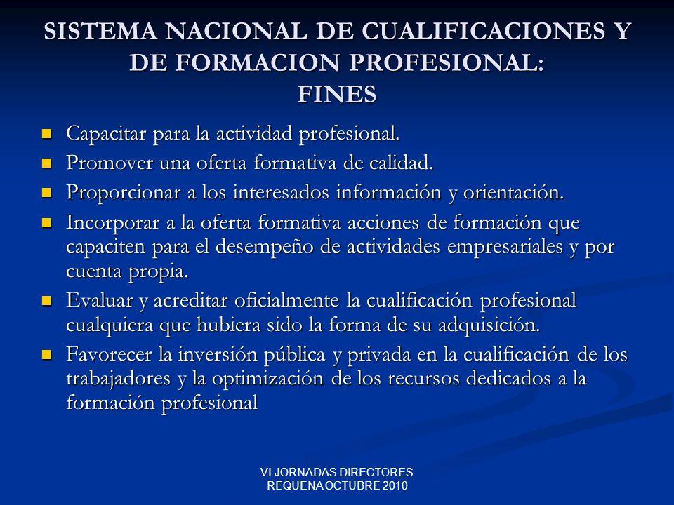 SISTEMA NACIONAL DE CUALIFICACIONES Y DE FORMACION PROFESIONAL: FINES