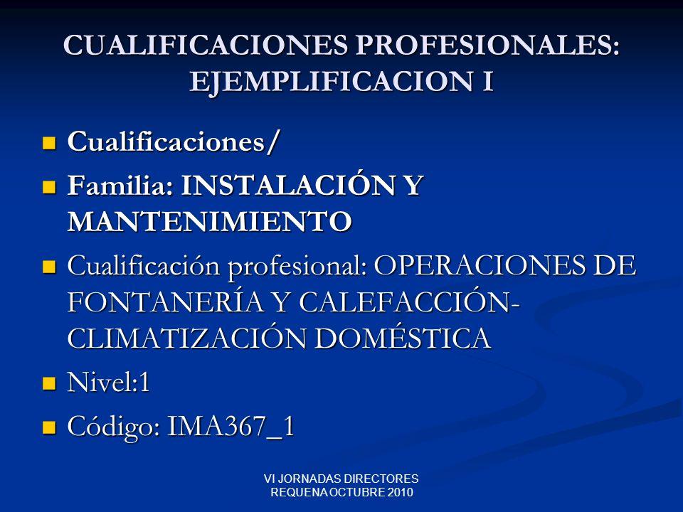 CUALIFICACIONES PROFESIONALES: EJEMPLIFICACION I