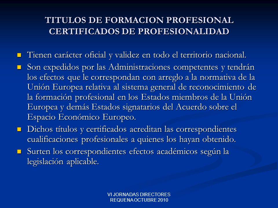 TITULOS DE FORMACION PROFESIONAL CERTIFICADOS DE PROFESIONALIDAD