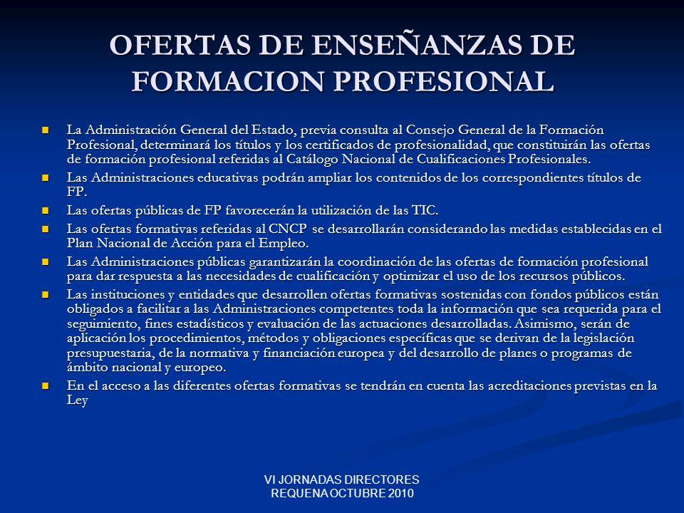 OFERTAS DE ENSEÑANZAS DE FORMACION PROFESIONAL