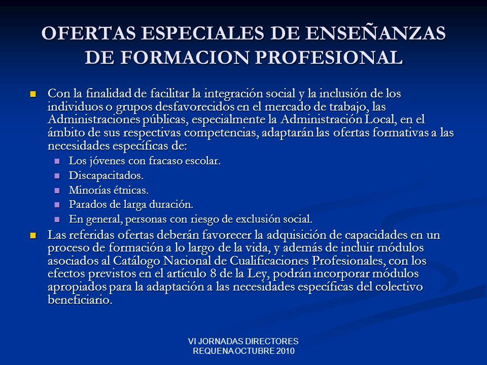 OFERTAS ESPECIALES DE ENSEÑANZAS DE FORMACION PROFESIONAL