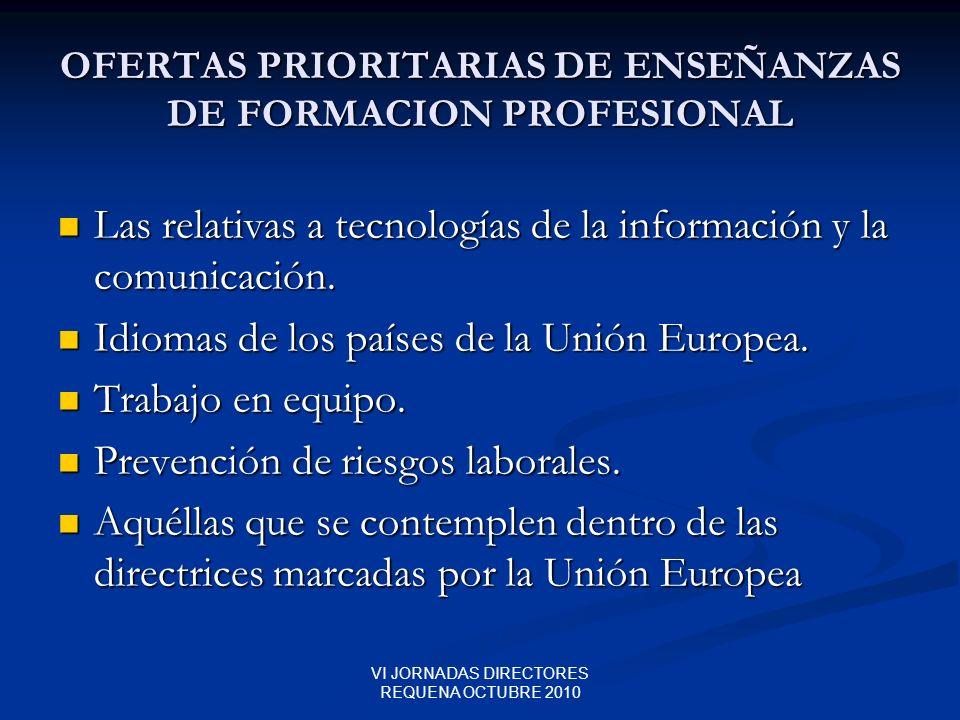 OFERTAS PRIORITARIAS DE ENSEÑANZAS DE FORMACION PROFESIONAL