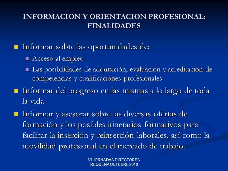 INFORMACION Y ORIENTACION PROFESIONAL: FINALIDADES