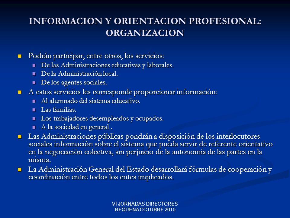 INFORMACION Y ORIENTACION PROFESIONAL: ORGANIZACION