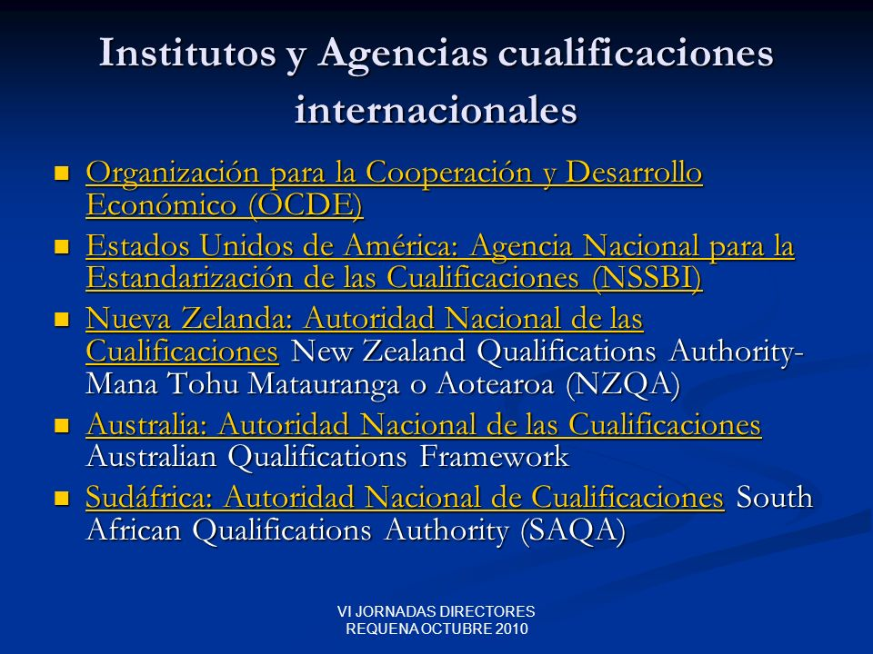 Institutos y Agencias cualificaciones internacionales