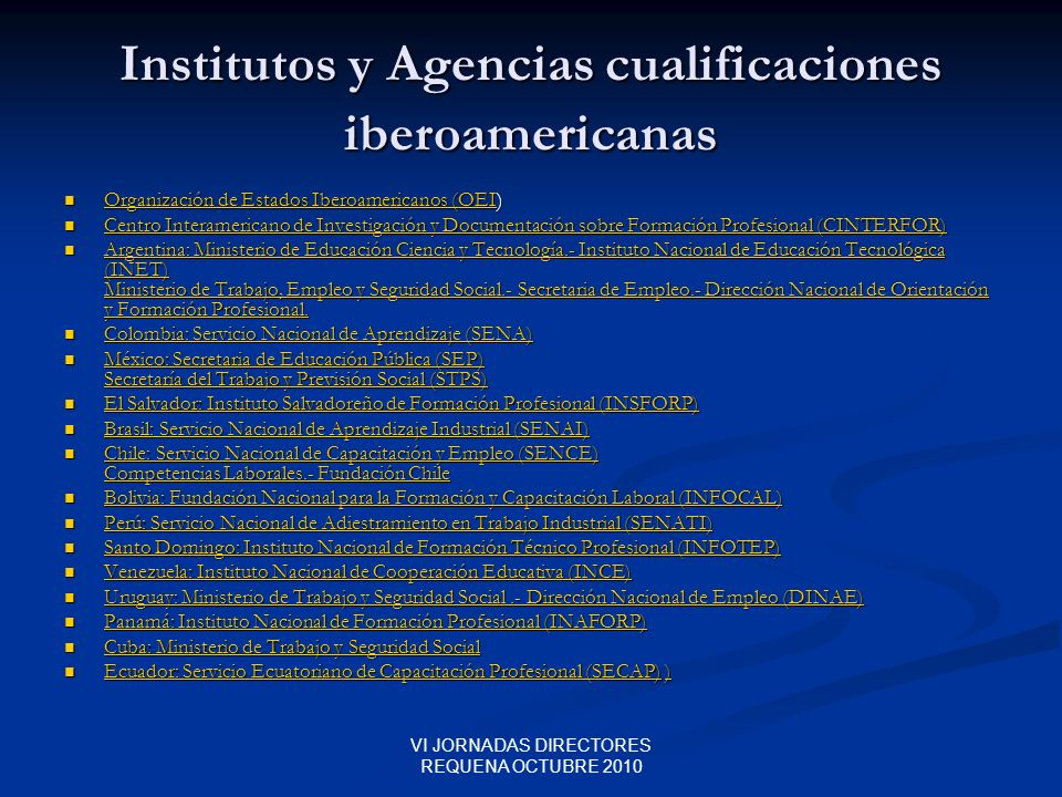 Institutos y Agencias cualificaciones iberoamericanas