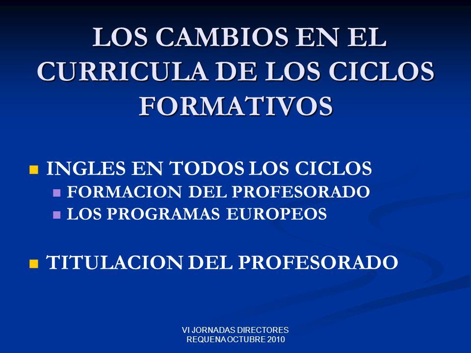 LOS CAMBIOS EN EL CURRICULA DE LOS CICLOS FORMATIVOS