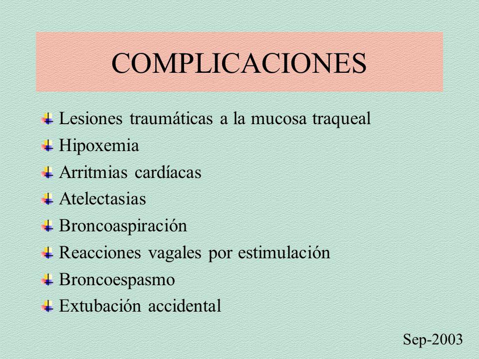 COMPLICACIONES Lesiones traumáticas a la mucosa traqueal Hipoxemia