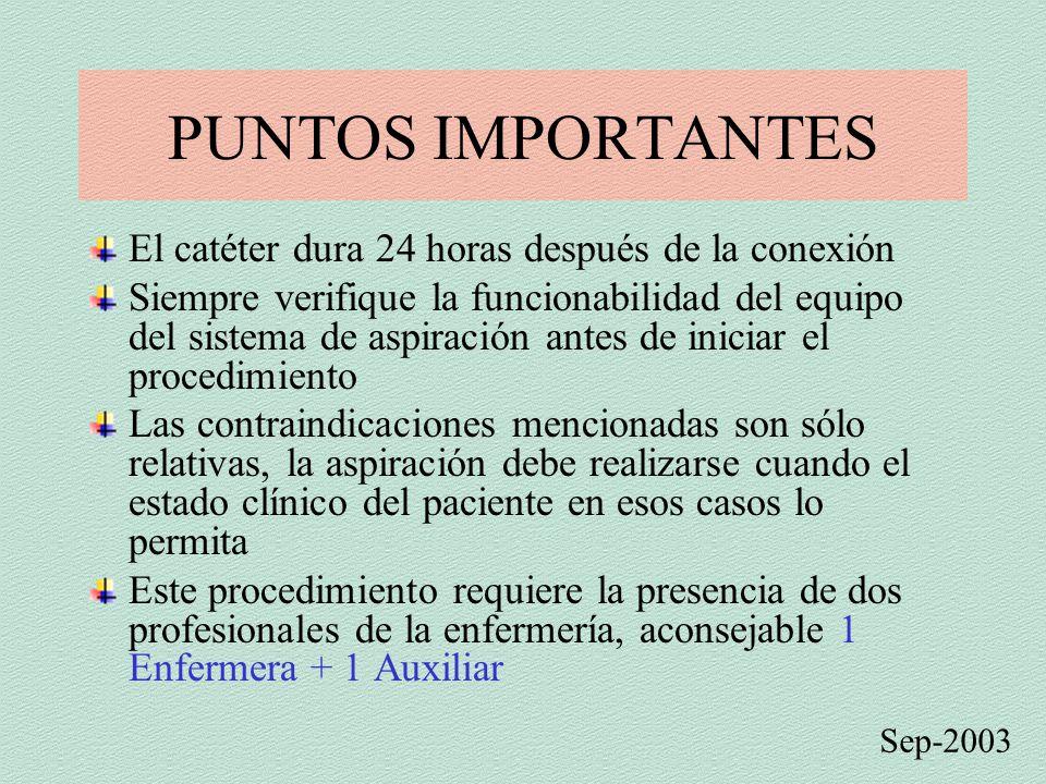 PUNTOS IMPORTANTES El catéter dura 24 horas después de la conexión