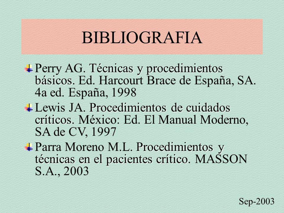 BIBLIOGRAFIA Perry AG. Técnicas y procedimientos básicos. Ed. Harcourt Brace de España, SA. 4a ed. España, 1998.