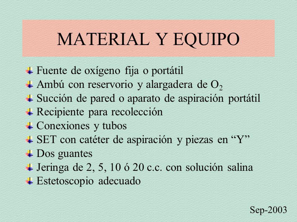 MATERIAL Y EQUIPO Fuente de oxígeno fija o portátil