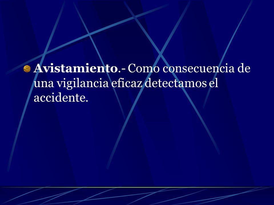 Avistamiento.- Como consecuencia de una vigilancia eficaz detectamos el accidente.