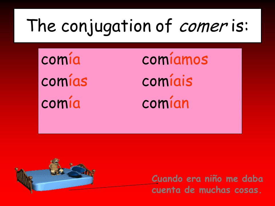 The conjugation of comer is: