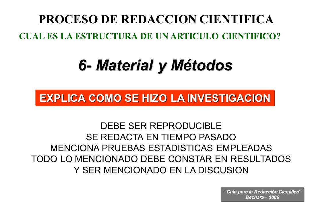 PROCESO DE REDACCION CIENTIFICA EXPLICA COMO SE HIZO LA INVESTIGACION