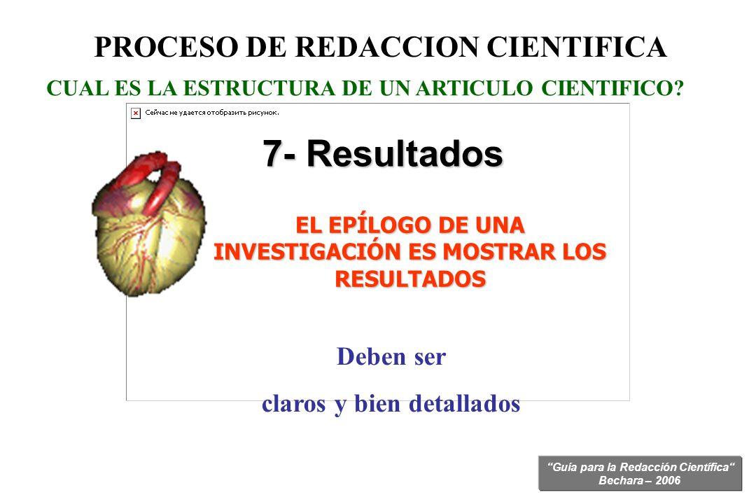 7- Resultados PROCESO DE REDACCION CIENTIFICA Deben ser