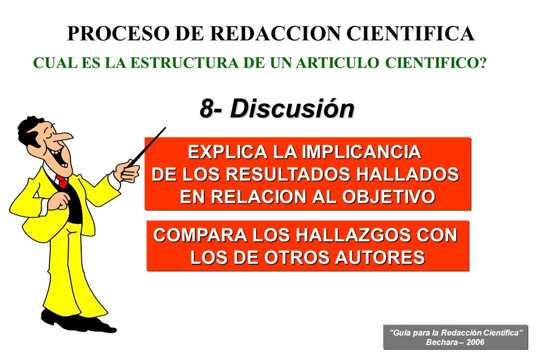8- Discusión PROCESO DE REDACCION CIENTIFICA EXPLICA LA IMPLICANCIA