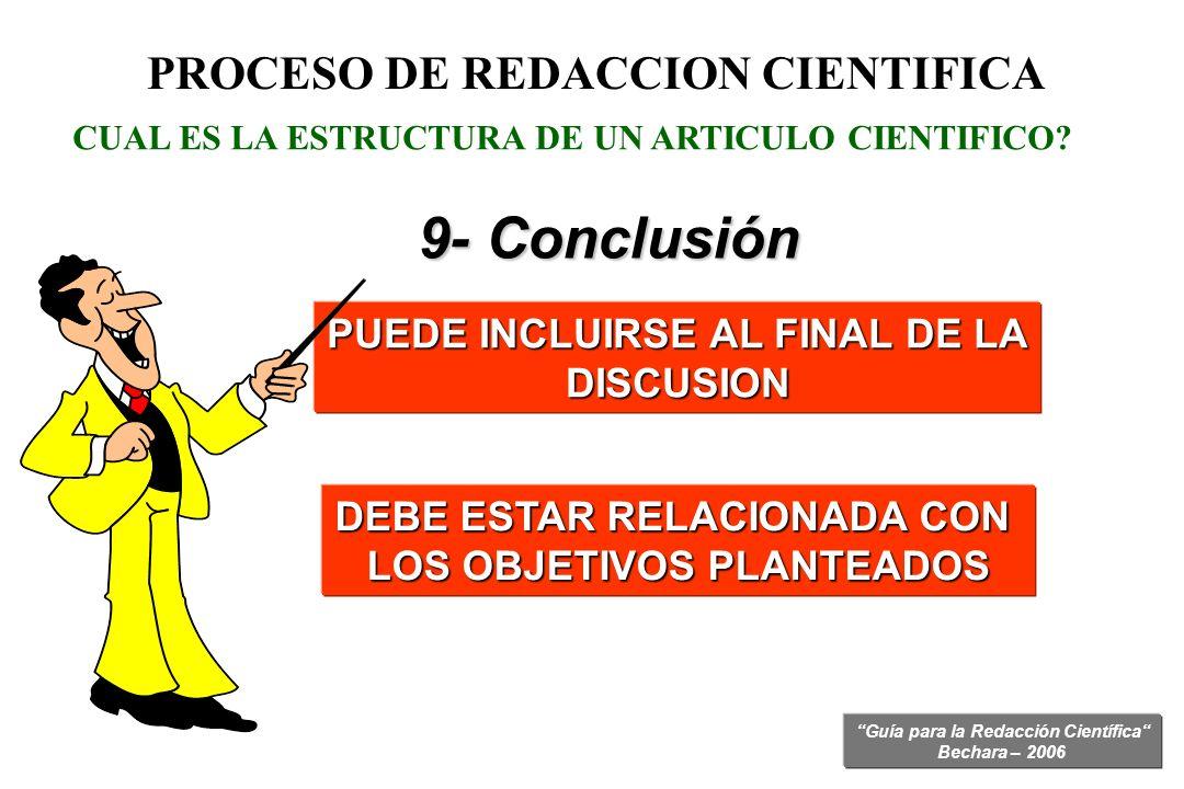 9- Conclusión PROCESO DE REDACCION CIENTIFICA