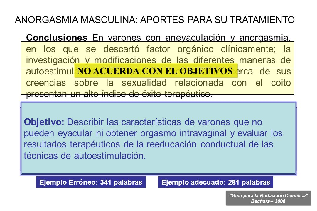 ANORGASMIA MASCULINA: APORTES PARA SU TRATAMIENTO