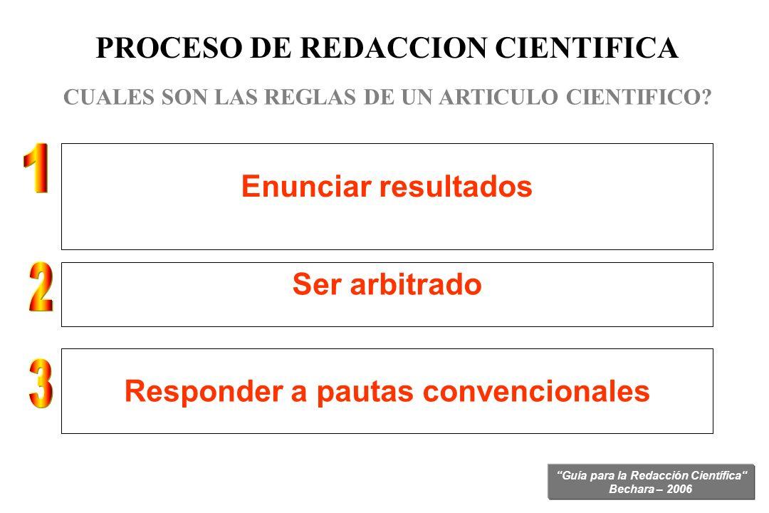 PROCESO DE REDACCION CIENTIFICA Responder a pautas convencionales