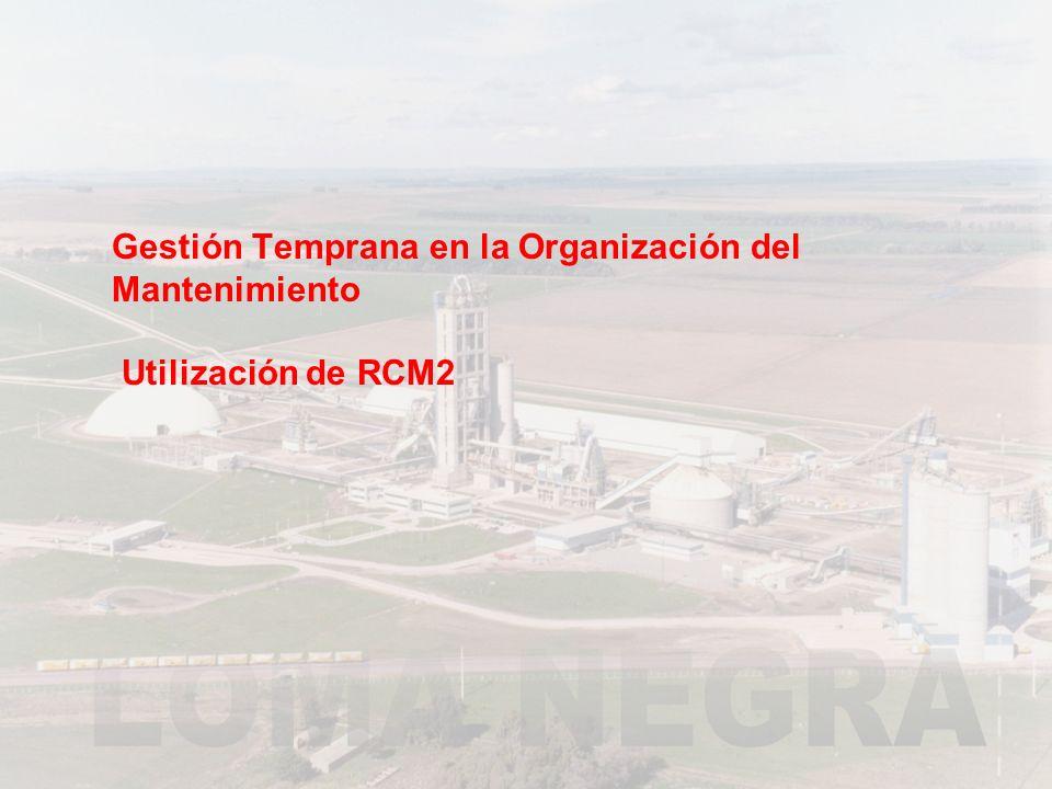 Gestión Temprana en la Organización del Mantenimiento Utilización de RCM2