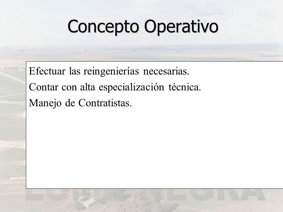 Concepto Operativo Efectuar las reingenierías necesarias.