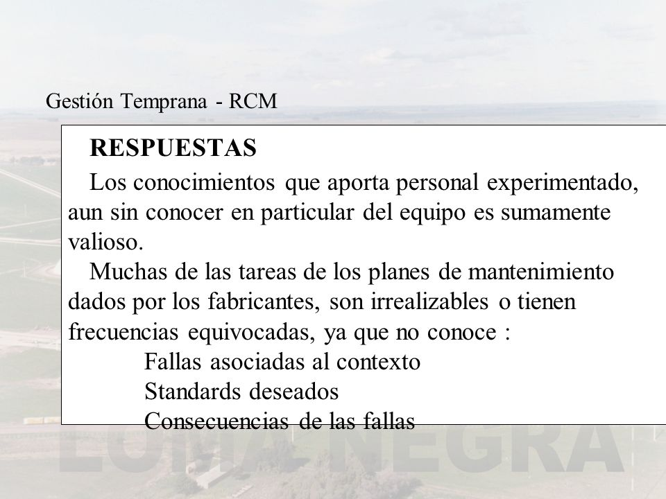 Gestión Temprana - RCMRESPUESTAS.