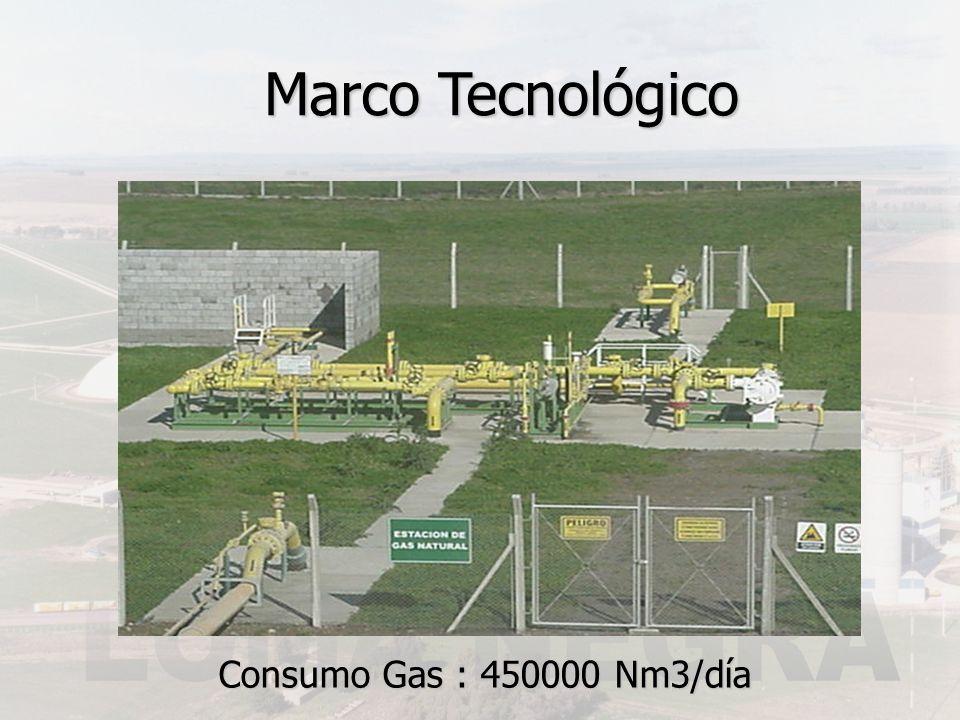 Marco Tecnológico Consumo Gas : 450000 Nm3/día