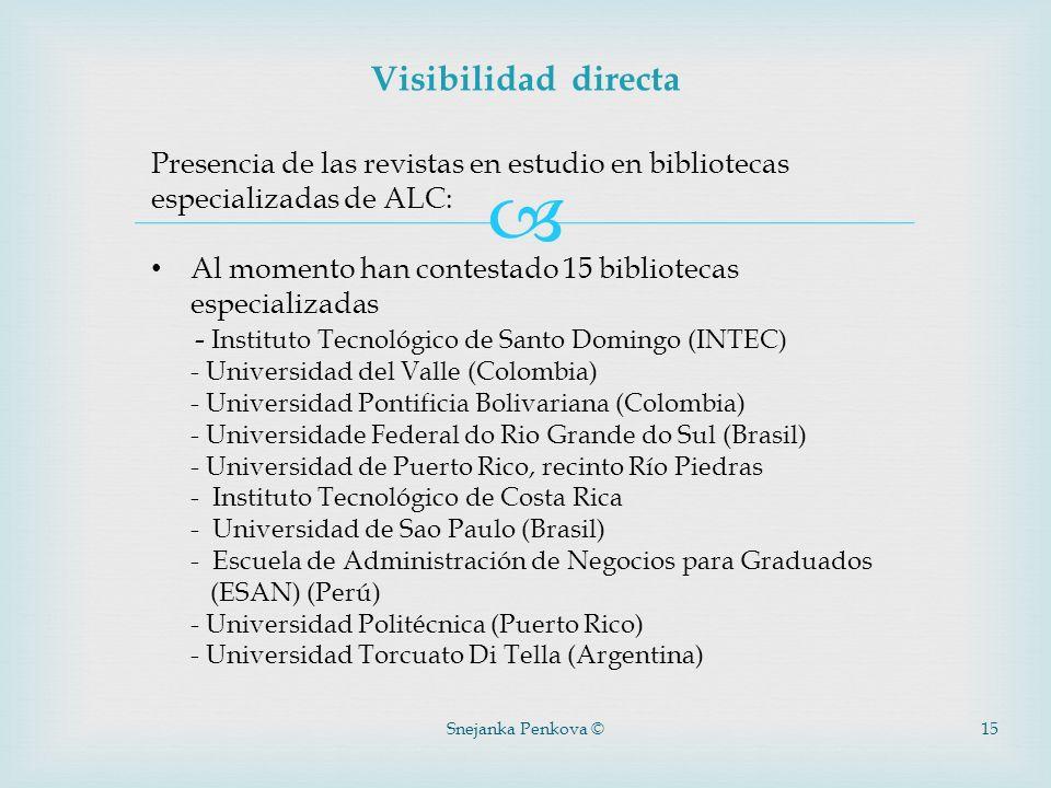 Visibilidad directa Presencia de las revistas en estudio en bibliotecas especializadas de ALC: