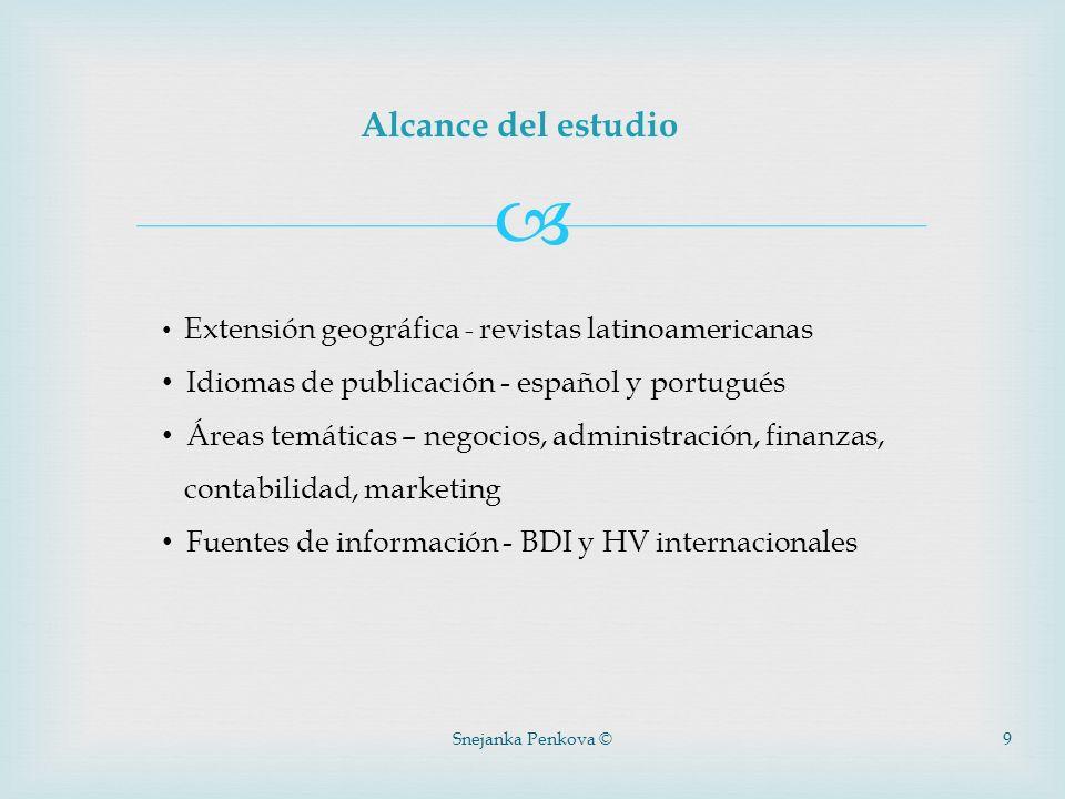 Alcance del estudio Idiomas de publicación - español y portugués