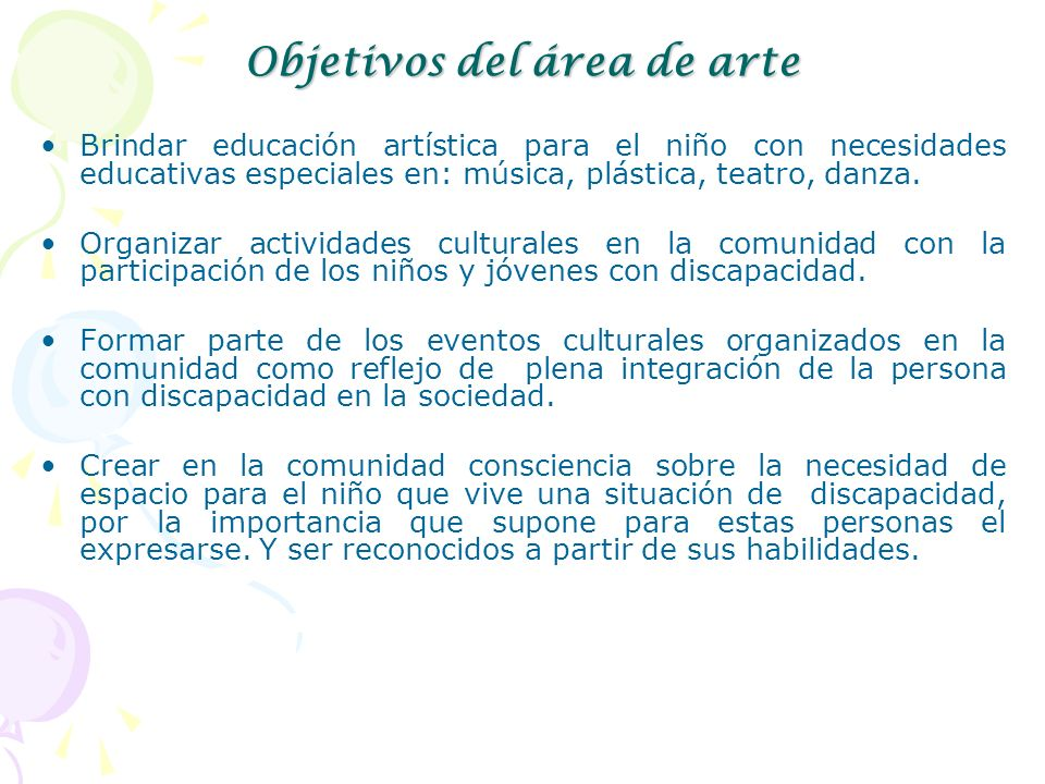 Objetivos del área de arte