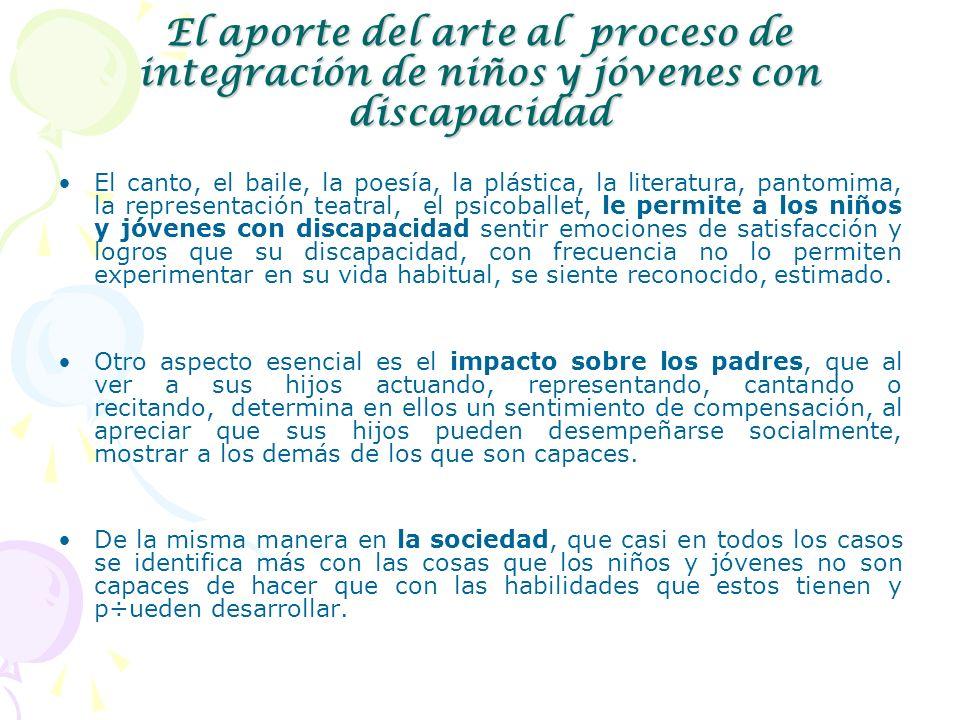El aporte del arte al proceso de integración de niños y jóvenes con discapacidad