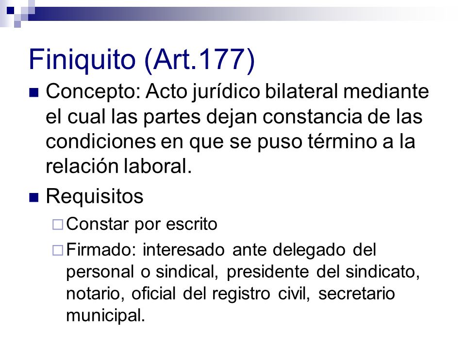 Finiquito (Art.177)