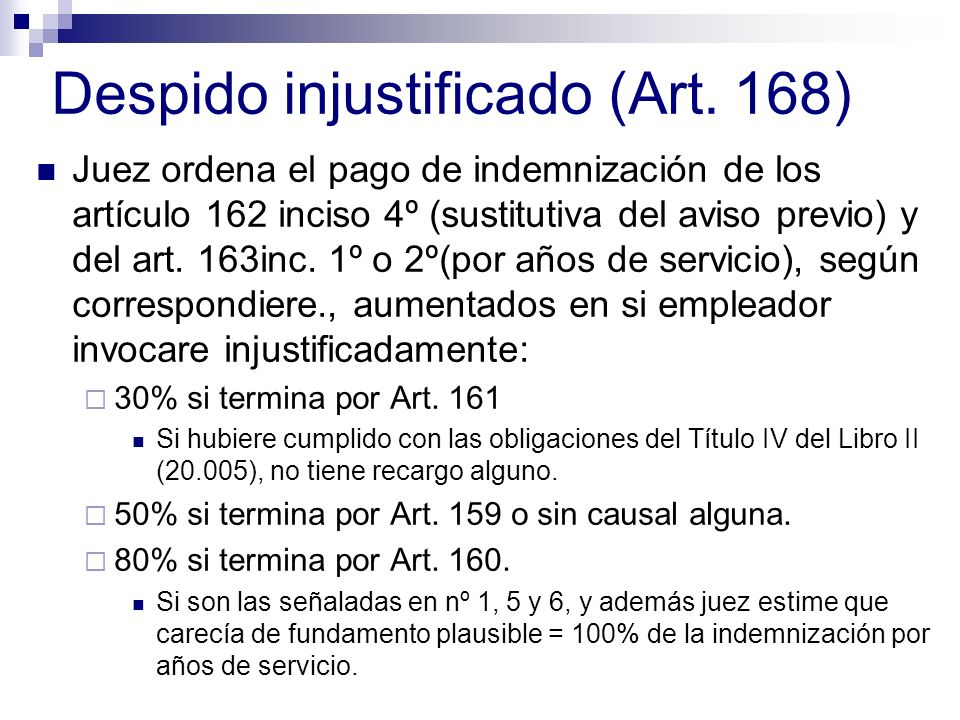 Despido injustificado (Art. 168)