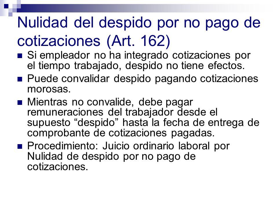Nulidad del despido por no pago de cotizaciones (Art. 162)