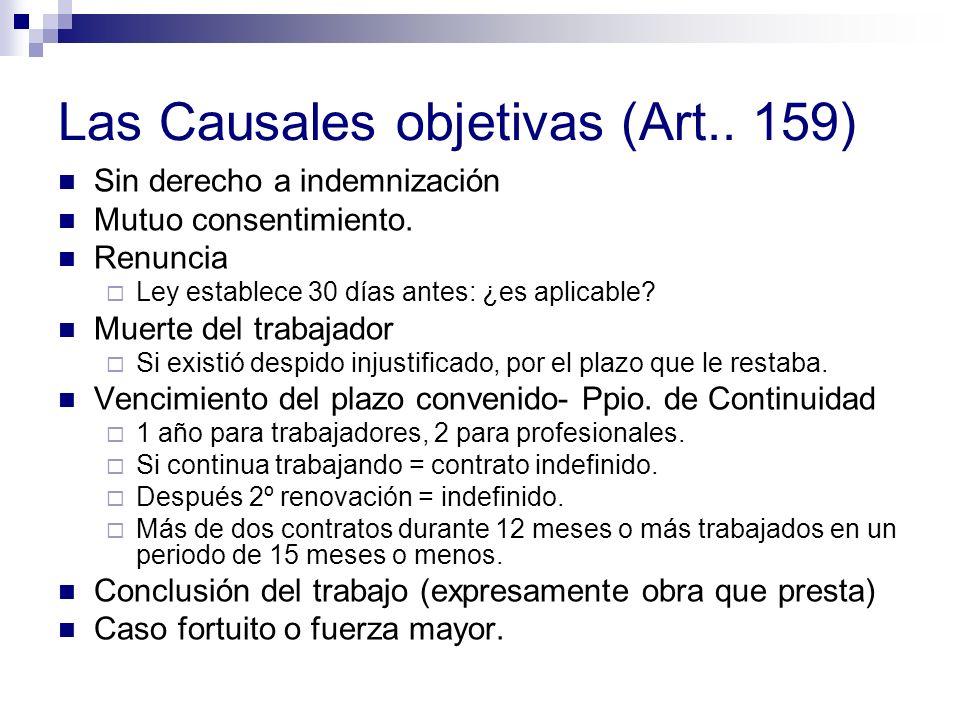 Las Causales objetivas (Art.. 159)
