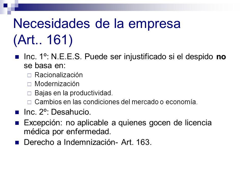 Necesidades de la empresa (Art.. 161)