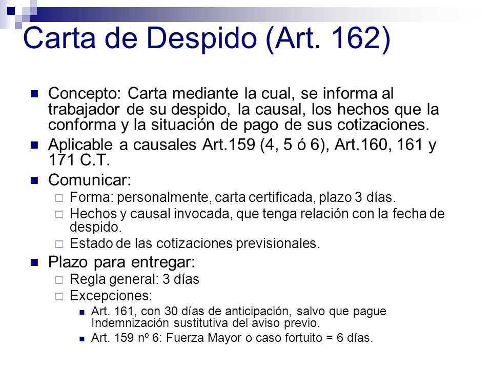 Carta de Despido (Art. 162)