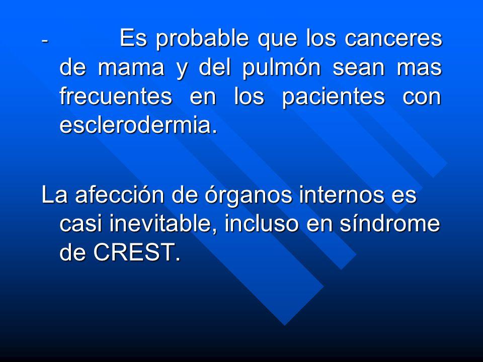 - Es probable que los canceres de mama y del pulmón sean mas frecuentes en los pacientes con esclerodermia.