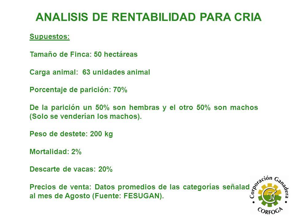 ANALISIS DE RENTABILIDAD PARA CRIA