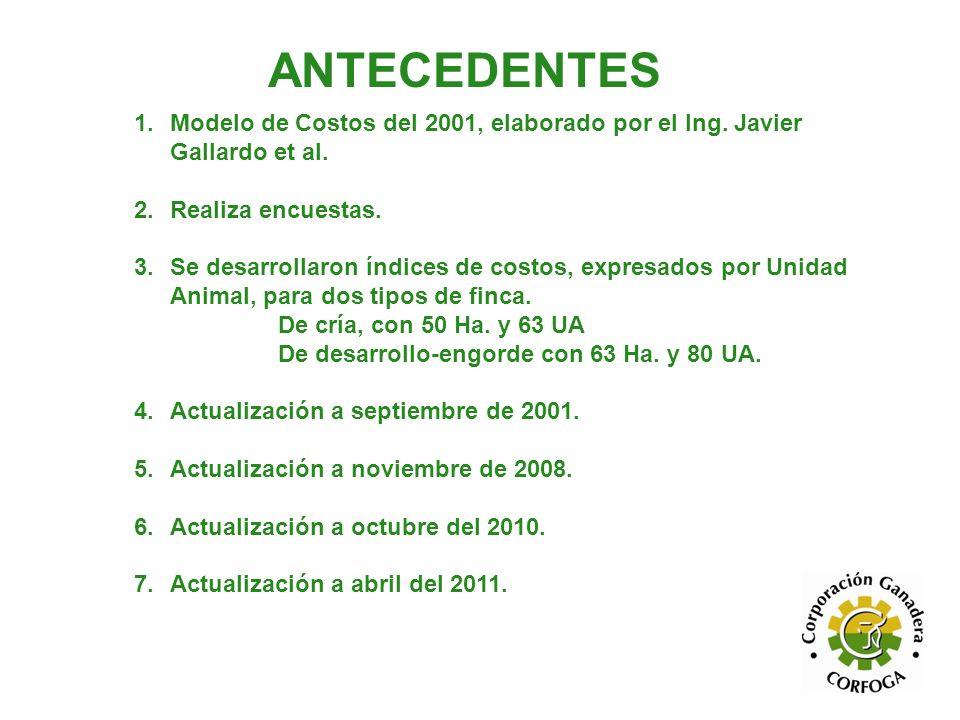 ANTECEDENTES Modelo de Costos del 2001, elaborado por el Ing. Javier Gallardo et al. Realiza encuestas.