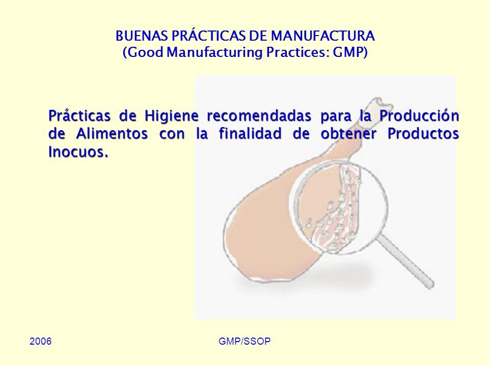 BUENAS PRÁCTICAS DE MANUFACTURA (Good Manufacturing Practices: GMP)