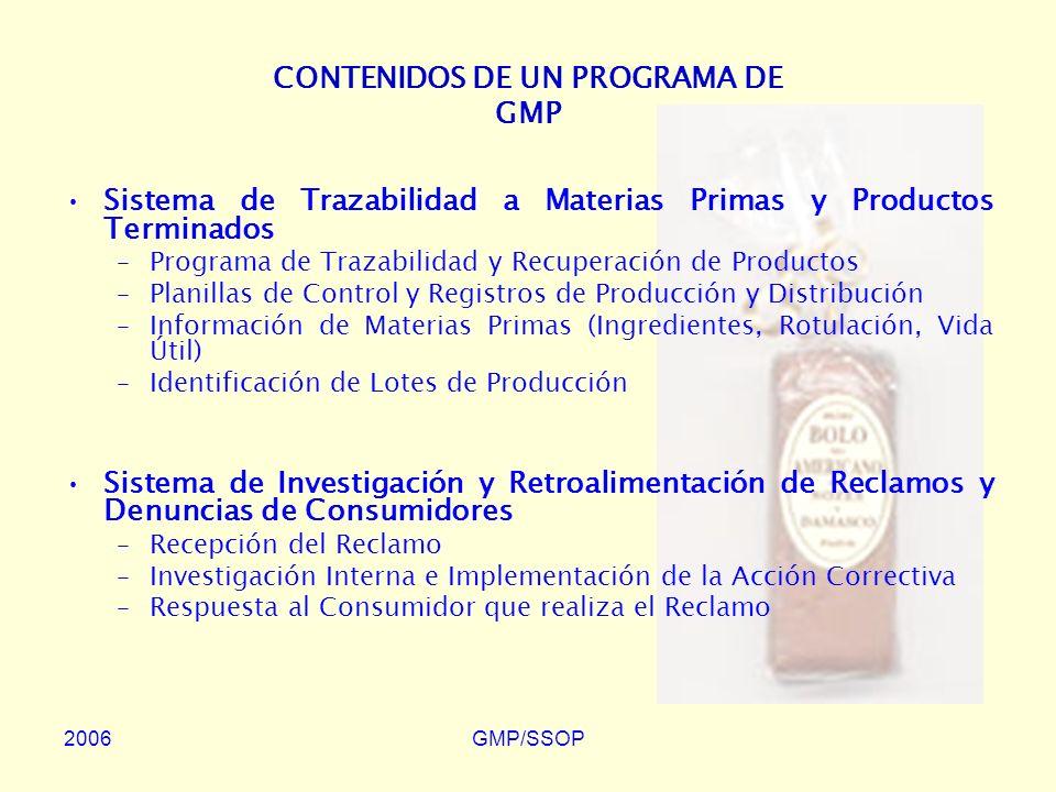 CONTENIDOS DE UN PROGRAMA DE GMP