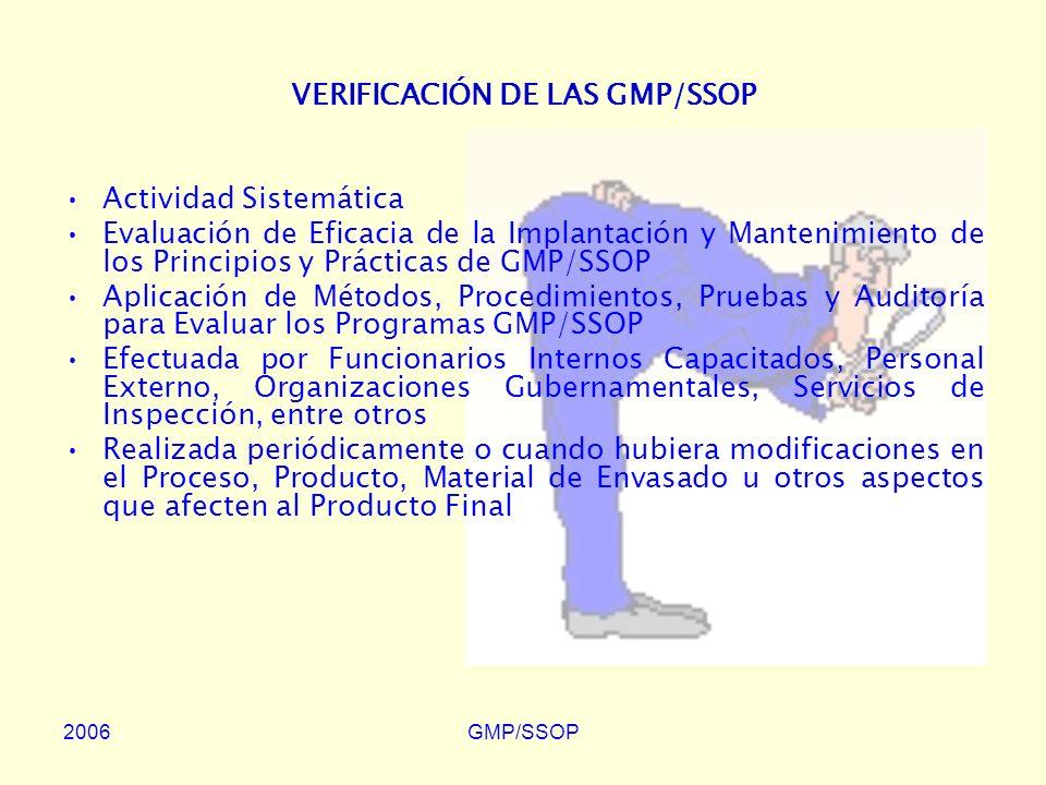 VERIFICACIÓN DE LAS GMP/SSOP