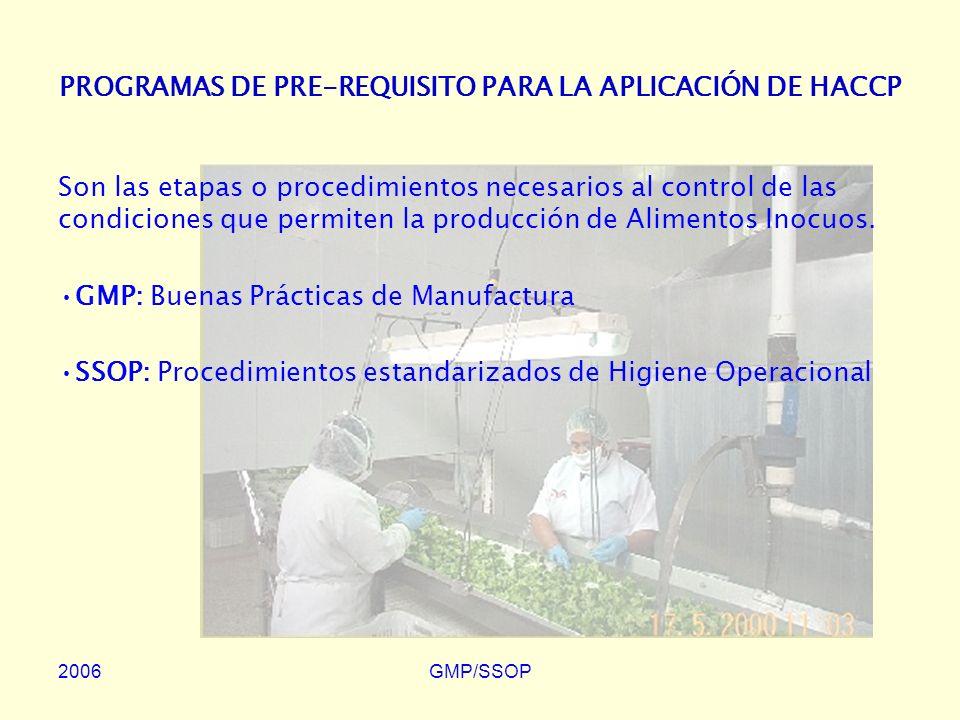 PROGRAMAS DE PRE-REQUISITO PARA LA APLICACIÓN DE HACCP